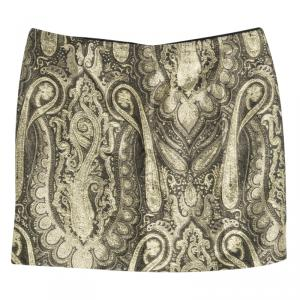 Alice + Olivia Metallic Lurex Paisley Pattern Yolanda Mini Skirt XS