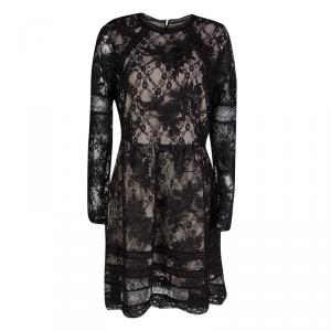 Alice + Olivia Black Corded Lace Long Sleeve Janae Dress L