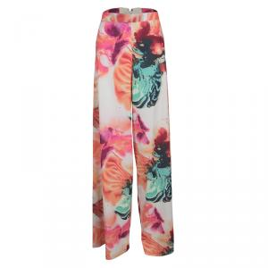Alice + Olivia Abstract Pigment Floral Print High Waist Palazzo Pants S