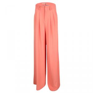 Alice + Olivia Coral Orange Pleated High Waist Palazzo Pants XS