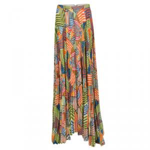 Alice + Olivia Multicolor Collage Striped Shannon Pleated Maxi Skirt M