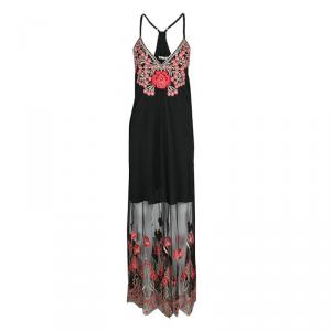 Alice + Olivia Black and Red Poppy Embroidered Tulle Sally Maxi Dress M