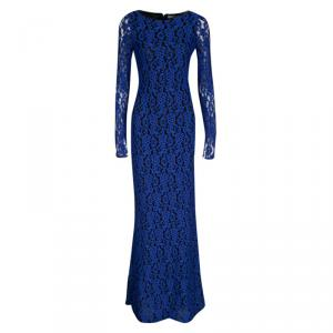 Alice + Olivia Cobalt Blue Lace Long Sleeve Flared Maryanna Maxi Dress S