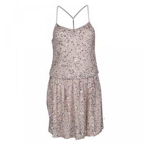 Alice + Olivia Dusty Pink Sequined T-Bar Bridget Blouson Dress XS