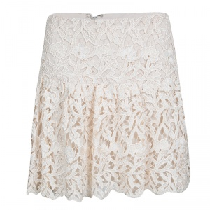 Alice + Olivia Cream Floral Lace Jayce Mini Skirt S