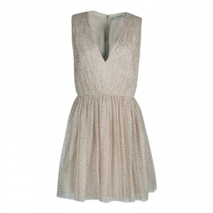 Alice + Olivia Gold Dotted Tulle Gathered Sleeveless Monica Dress M