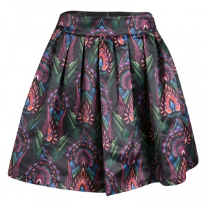 Alice + Olivia Multicolor Printed Satin Pleated Stora Mini Skirt S