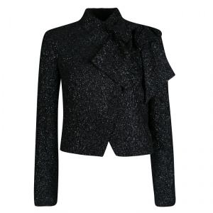 Alice + Olivia Black Lurex Knit Bow Detail Cropped Hope Jacket S