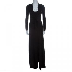 Alice+Olivia Black Knit Tie Front Long Sleeve Salina Maxi Dress M