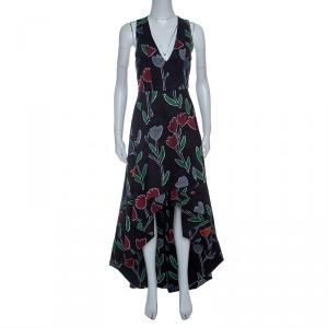 Alice+Olivia Black Tulip Printed Cotton High Low Sleeveless Beckie Gown XS