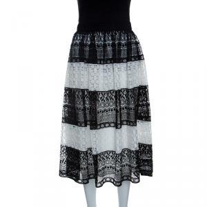 Alice + Olivia Black Floral Embroidered Stripe Detail Birdie Skirt M