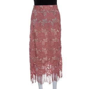 Alice + Olivia Dusty Pink Floral Lace Strand Pencil Skirt S