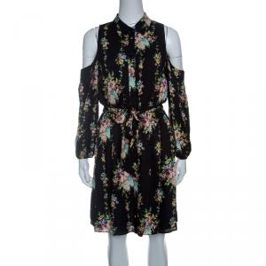 Alice + Olivia Black Floral Print Cold Shoulder Belted Karina Shirt Dress S