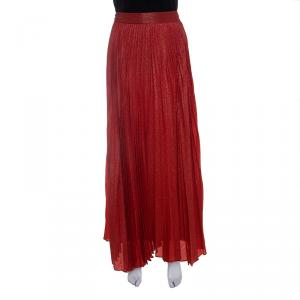 Alice + Olivia Metallic Poppy Red Sunburst Pleated Katz Maxi Skirt M