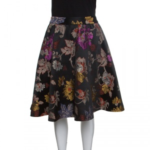 Alice + Olivia Black Floral Brocade High Waist Earla Flared Skirt S