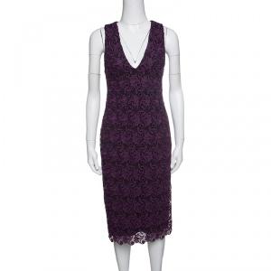 Alice + Olivia Purple Floral Guipure Lace Sleeveless Preslee Dress S