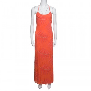 Alice + Olivia Coral Embroidered Silk Chiffon T-Back Kelly Maxi Dress M