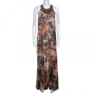 Alice + Olivia Jungle Safari Print Embellished Silk Shona Maxi Dress M