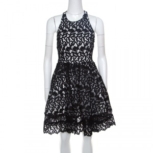 Alice + Olivia Black Guipure Lace Angular Racer Back Mariel Dress S