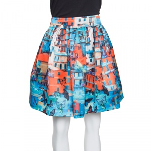 Alice + Olivia Venetian Butterfly Paradise Print Box Pleated Stora Skirt M
