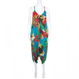 Alice + Olivia Multicolor Hibiscus Printed Racerback Frankie Harem Jumpsuit S -