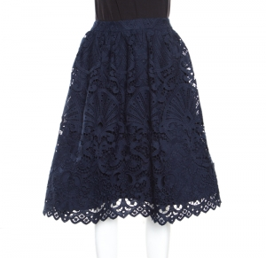 Alice + Olivia Sapphire Blue Floral Guipure Lace Gathered Joyce Skirt M