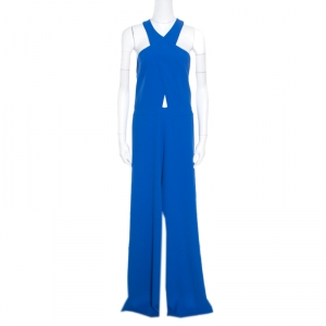 Alice + Olivia Cobalt Blue Cross Front Wide Leg Trinity Jumpsuit L