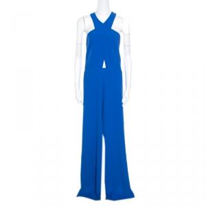 Alice + Olivia Cobalt Blue Cross Front Wide Leg Trinity Jumpsuit L