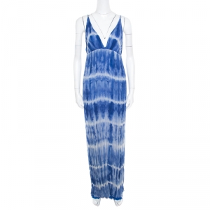 Alice + Olivia Indigo Tie Dyed Crinkled Silk Stevie Maxi Dress L