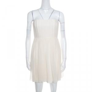 Alice + Olivia Cream Crepe Silk Pleated Bodice Strapless Skater Dress S