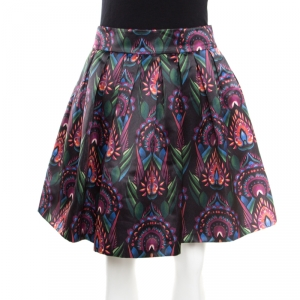 Alice + Olivia Ombre Deco Printed Pleated A Line Stora Skirt XS