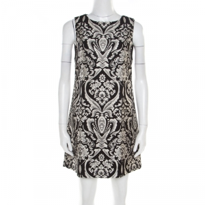 Alice + Olivia Monochrome Floral Jacquard Sleeveless Clyde Dress S