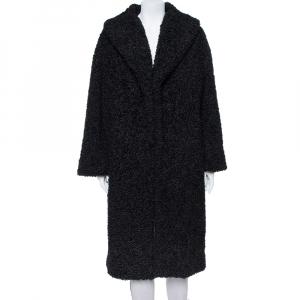 Alice + Olivia Black Boucle Oversized Ora Coat L