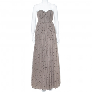 Alice + Olivia Taupe Embellished Tulle Strapless Evening Gown S