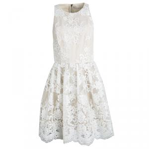 Alice + Olivia Beige Embroidered Lace Fit and Flare Ladonna Dress S
