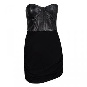 Alice + Olivia Black Leather Detail Bodycon Ruched Strapless Dress M