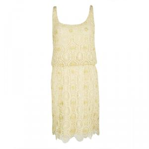 Alice + Olivia Yellow Cutout Lace Embellished Gabby Dress S