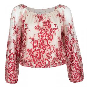 Alice + Olivia Red and Cream Embroidered Lace Long Sleeve Fila Top S