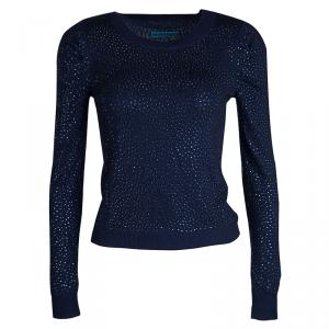 Alice + Olivia Navy Blue Crystal Embellished Sweater XS