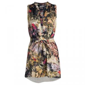 Alice + Olivia Multicolor Floral Print Belted Berk Dress S