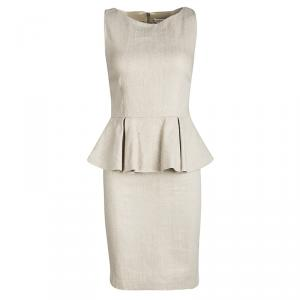 Alice + Olivia To Work  Beige Linen Sleeveless Peplum Dress S