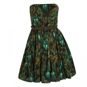 Alice + Olivia Green Floral Print Strapless Belted Dress M