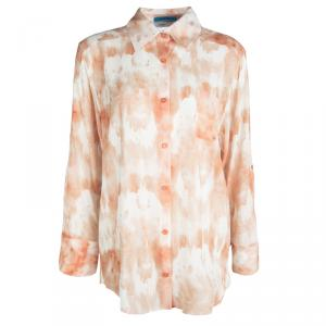 Alice + Olivia Orange Tie Dye Silk Long Sleeve Piper Blouse M