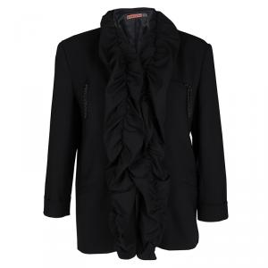 Alice + Olivia Black Wool Ruffle Detail Jacket M