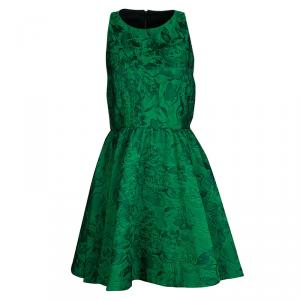 Alice + Olivia Emerald Green Floral Jacquard Racerback Tevin Dress S