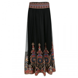 Alice + Olivia Black Embroidered Tulle Savanna Maxi Skirt S