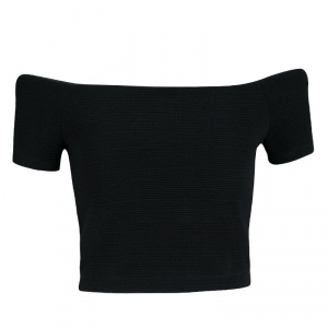 Alice + Olivia Black Stretch Knit Gracelyn Off Shoulder Crop Top S
