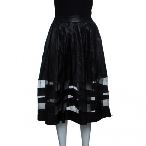 Alice + Olivia Black Leather Mesh Insert Gathered Midi Skirt S