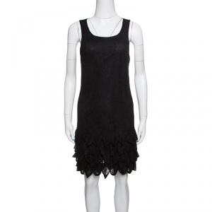 Alice + Olivia Black Floral Lace Layered Bottom Sleeveless Dress S