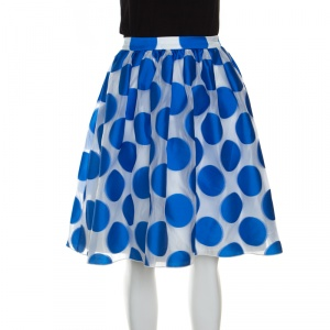 Alice + Olivia  White and Blue Polka Dotted Jacquard Camille Gathered Skirt S